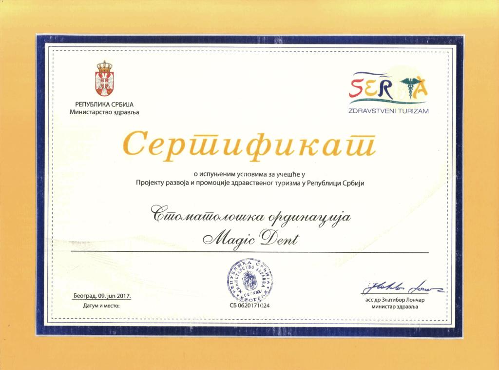 Vaš stomatolog Novi Beograd: Magic Dent jedna je od 30 ordinacija koja poseduje sertifikat za zdravstveni turizam